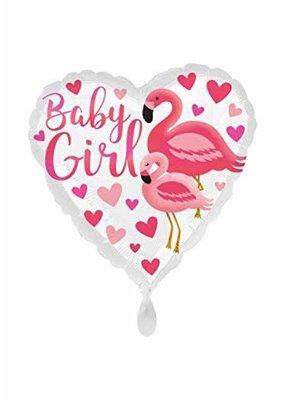 ***Flamingo Baby Girl Heart Shape Mylar Balloon