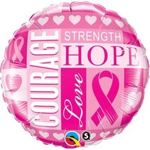 ***Pink Ribbon Courage Strength Hope Mylar Balloon