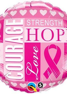 ***Pink Ribbon Courage Strength Hope Mylar Balloon