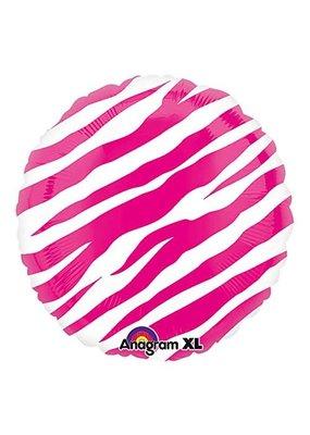 "***Pink Zebra Print 18"" Mylar balloon"