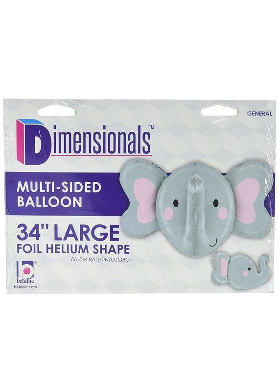 "*****Multi Sided Elephant 34"" Mylar Balloon"