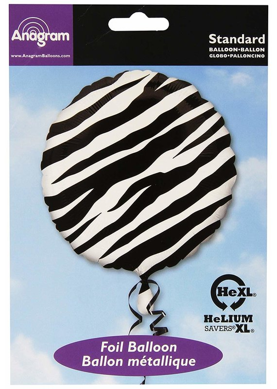 "***Black Zebra Print 18"" Mylar balloon"