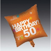 ***Orange 50th Birthday Square Mylar Balloon