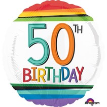 ***Rainbow Birthday 50 Mylar Balloon