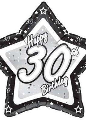 ***Black Silver Star 30 Birthday Mylar Balloon