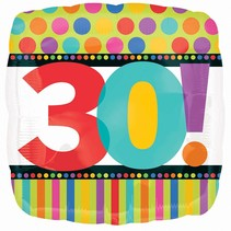 ***Stripes and Dots 30 Mylar Balloon