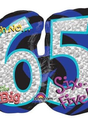 ***Jumbo Oh No 65 Birthday Mylar Balloon