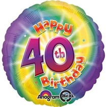 ***Happy 40th Birthday Mylar Balloon
