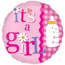 "***It's a Girl Rick Rack 18"" Mylar Balloon"