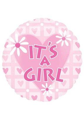 "***It's a Girl Pink Hearts 18"" Mylar Balloon"