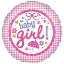 "***New Baby Girl Gingham 18"" Mylar Balloon"