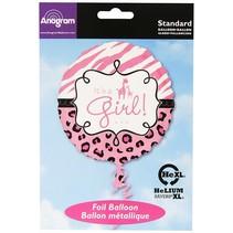 """***It's A Girl Safari Pink 18"""" mylar balloon"""