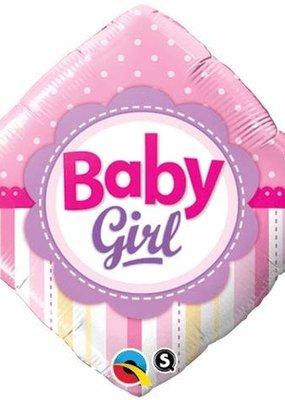"***Baby Girl Dots Stripes 18"" Square Mylar"
