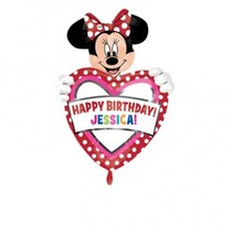 "***Minnie Mouse Personalized 33""x 24"" Mylar Balloon w/stickers"