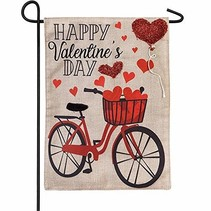 ***Valentine's Day Bicycle Burlap Garden Flag