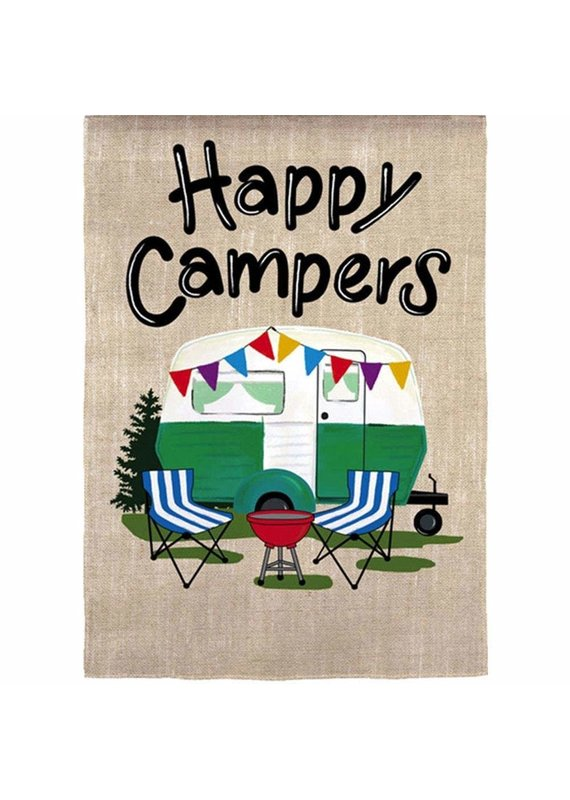****Happy Campers Travel Suede Flag