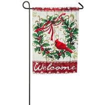 ***Cardinal Holly Wreath Suede Garden Flag