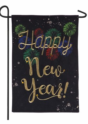 ***Happy New Year Burlap Garden Flag