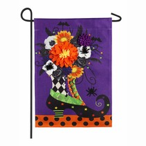 ***Witch Boot Burlap Garden Flag