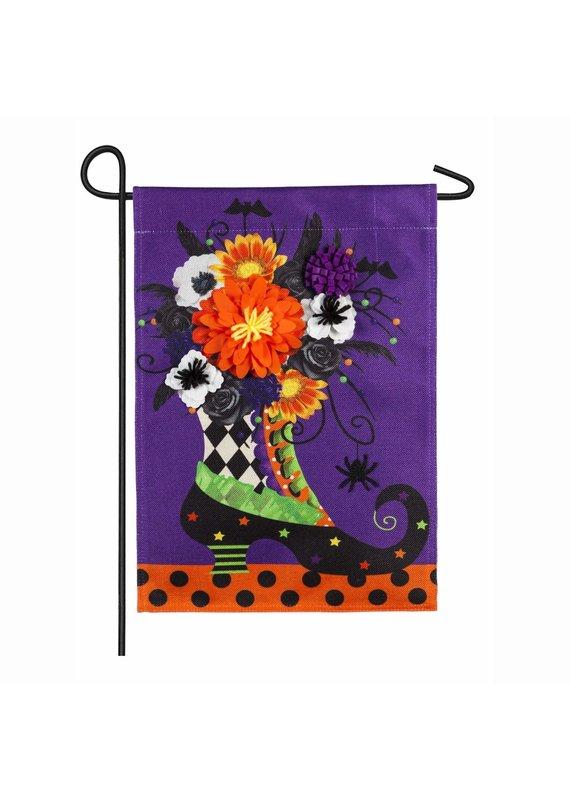 ****Witch Boot Burlap Garden Flag
