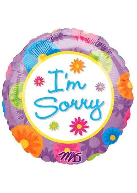 "M&D industries ***I'm Sorry Pastel Flowers 18"" Mylar Balloon"