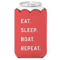 "***""Eat Sleep Boat Repeat"" Insulated Can Cover with Pocket"