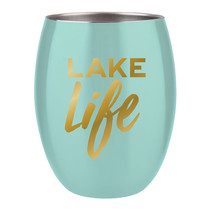 ***Lake Life Blue Stemless Wine Cup