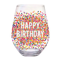 ***Happy Birthday Confetti Jumbo Stemless Wine Glass