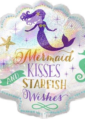 "***Mermaid Wishes Shell 25"" Mylar Balloon"