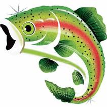 "***Rainbow Trout 29"" Holographic Mylar Balloon"