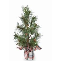 ***White Tartan Faux Pine Tree