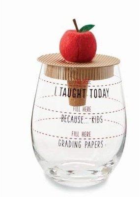 ***Apple Teacher Wine Glass