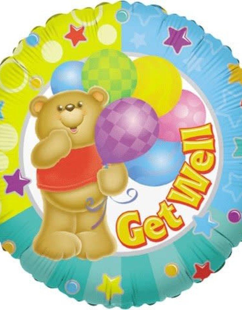 "***Bear Get Well 18"" Mylar Balloon"