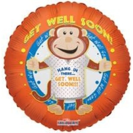 ***Orange Get Well Monkey Mylar Balloon