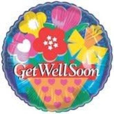 """***Get Well Flower Pot 18"""" Mylar Balloon"""
