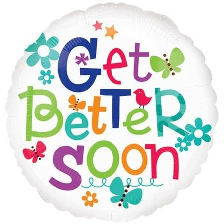 ***Get Better Soon Cute Butterfly Mylar Balloon