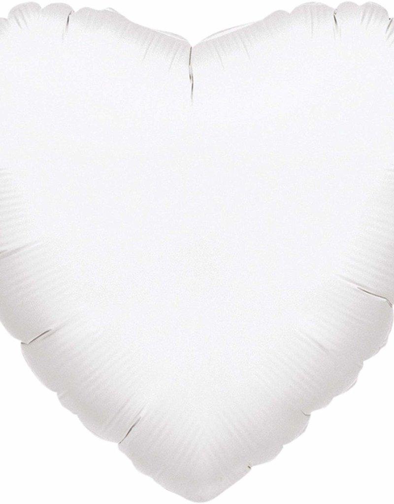 ***White Heart Mylar Balloon