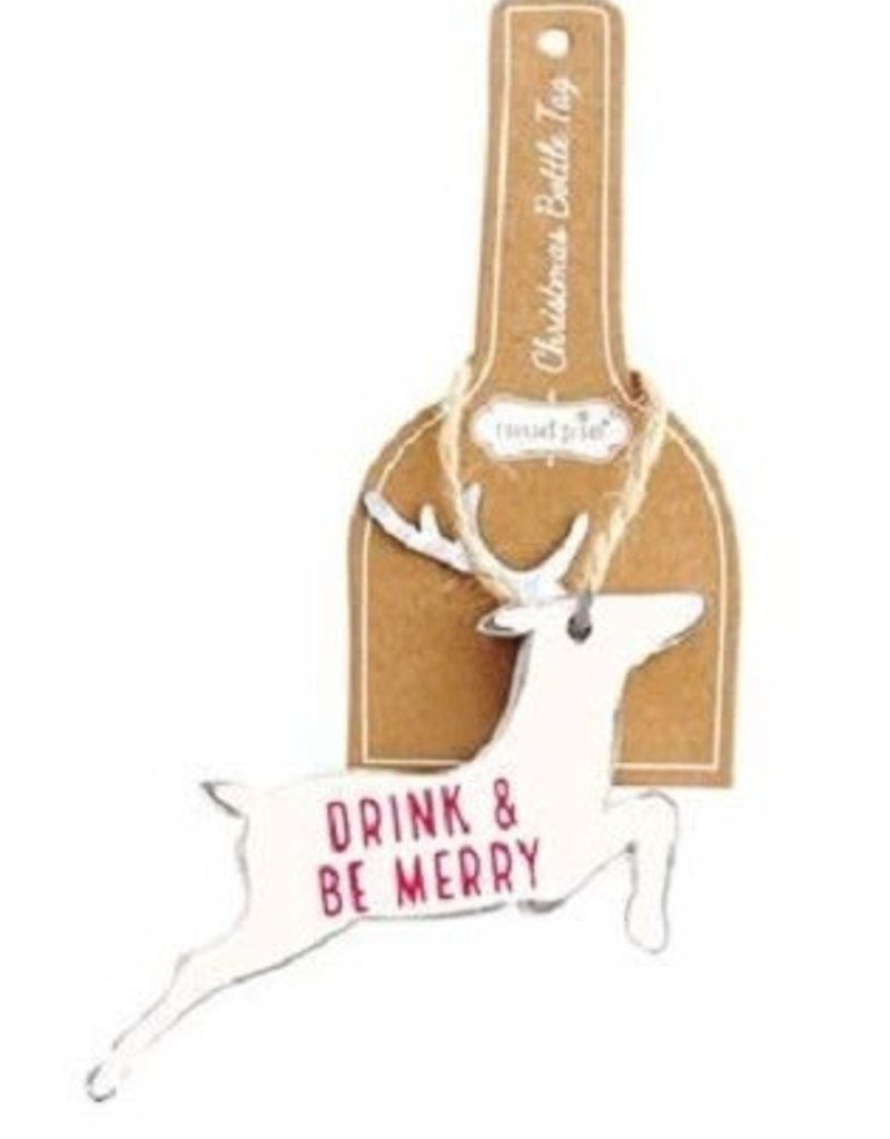 ***Drink & Be Merry White Deer Bottle Tag