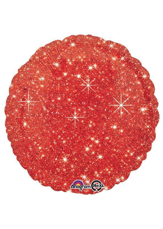 ****Red Faux Sparkle Round Mylar Balloon