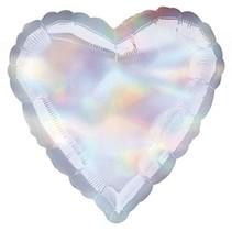 ***Iridescent Silver Heart Dazzler Mylar Balloon
