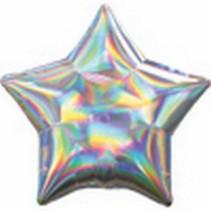 ***Iridescent Silver Star Mylar Balloon