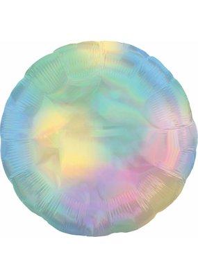 ***Iridescent Pastel Rainbow Round Mylar Balloon