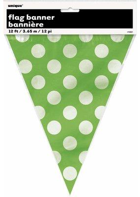***Lime Green Polka Dot Flag Banner