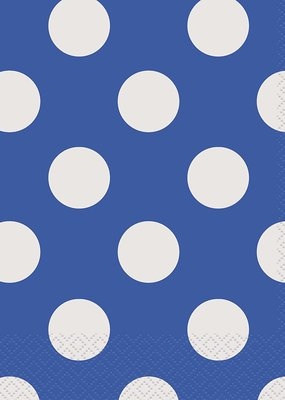 ***Blue Polka Dot Lunch Napkins 16ct