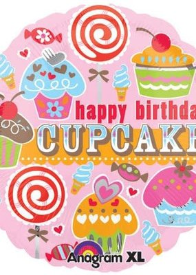 "***Happy Birthday Cupcake 18"" Mylar Balloon"
