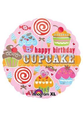 "***Happy Birthday Cupcake 18"" Mylar Balloon"