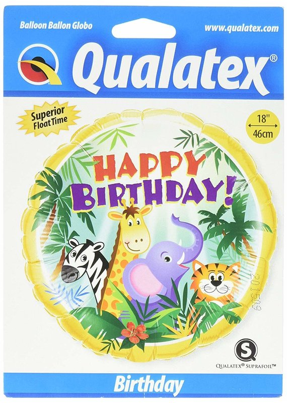 "***Cute Jungle Birthday 18"" Mylar Balloon"