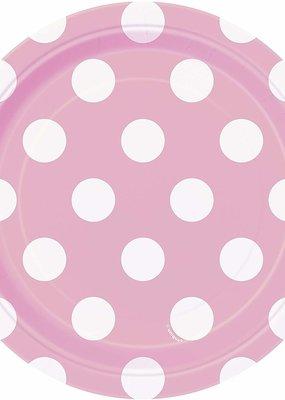 "***Lovely Pink Dots 7"" Dessert Plates 8ct"