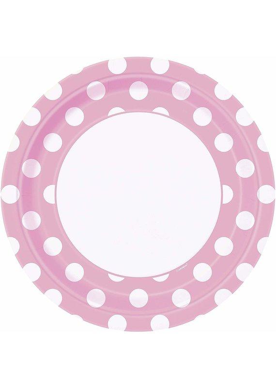 """***Lovely Pink Polk Dot 9"""" Dinner Plates 8ct"""