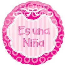 ***Es Una Nina Spanish Baby Girl Mylar Balloon